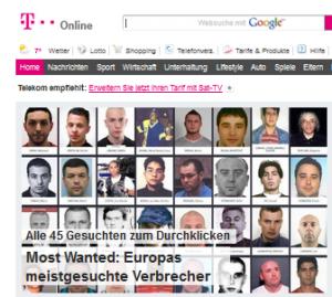 Ausschnitt der Titelseite von t-online.de (30.01.16)