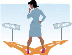 career-family-black-woman-business-suit-standing-fork-road-deciding-vector-illustration-no-56209365